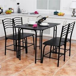 Costway 5 PCS Black Dining Set Table 4 Chairs Steel Frame Ho