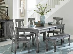 Cottage Rustic Gray 6 pieces Dining Room Rectangular Table B