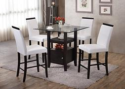 Kings Brand 5-Piece Counter Height Dining Set, Table & 4 Cha