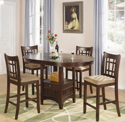 5pc Counter Height Dining Table and Stools Set in Dark Cherr