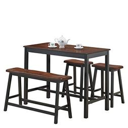 COSTWAY 4PC Counter Height Table Set Simple Dining Set Moder