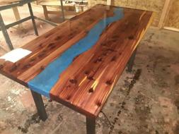 Crafted River live edge dining table 5ft Red Cedar with a Bl