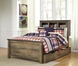 Cremona Brown Casual Twin Bookcase Bed with Underbed Storage