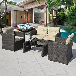 Cushioned Outdoor Wicker Patio Set Garden Lawn Rattan Sofa F