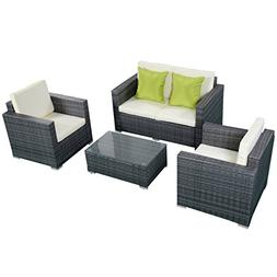 4 PCS Cushioned Wicker Rattan Patio Sofa Furniture Set Garde