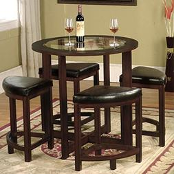 Cylina Solid Wood Round 5-Piece Dining Table Set with Glass