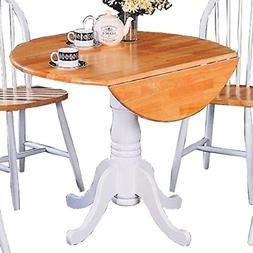 Coaster Damen Round Pedestal Drop Leaf Dining Table in Natur