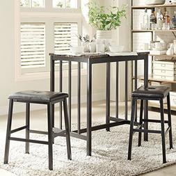 INSPIRE Q Darcy Faux Marble Top Black Metal 3-piece Counter