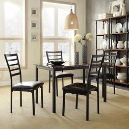 Darcy II Faux Marble Top Black Metal 5-piece Casual Dining S