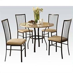 ACME Furniture Darell 5 Piece Pack Dining Set in Marble