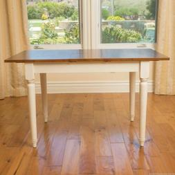 Bronwen Rustic Dark Oak and Antique White Wood Dining Table