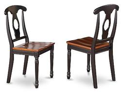 Set of 2 dinette kitchen dining chairs with wood seat in bla