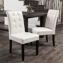 Set of 2 Dining Chairs with Espresso Colored Legs and Tufted