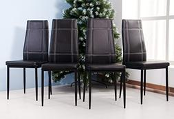 Merax 4pcs Dining Chairs in Black with Metal Leg and PU leat
