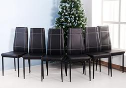 Merax 6pcs Dining Chairs in Black with Metal Leg and PU leat