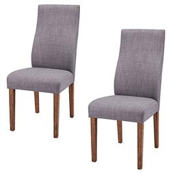 Giantex Set of 2 Dining Chairs Fabric Upholstered High Back