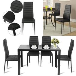 Dining Chairs Set of 6 High Back Design Metal Frame PU Leath