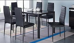 IDS Home 7 Piece Glass Dining Table and Chair Set for 6 Kitc