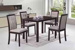 5pc Dining Dinette Set 4 Person Set Dark Espresso Finish by