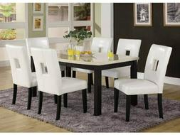 Dining Dinette Table Black Wood White Marble Finish Home Ele
