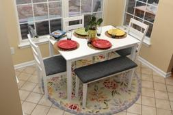 5pc Dining Dinette Table Chairs & Bench Set White Finish 150