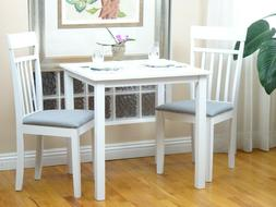 Dining Kitchen 3 PC SET Square Table 2 Warm Chairs White Fin