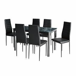 IDS Home 7 Piece Home Dining Kitchen Furniture Set with Faux