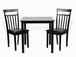 Dining Kitchen 3 Pc SET Square Table 2 Warm Chairs in Black