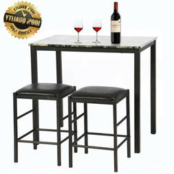 Dining Kitchen Table and 2 Chairs Marble Rectangular Breakfa