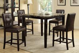 Dining Room Family Counter Height Brown Faux Leather Tufted