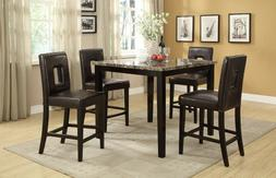 Dining Room Family Counter height Dark Brown Faux Leather Ch