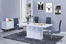 Dining Room Furniture White Table & 4 Grey Upholstered Side