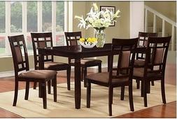 Dining Room Table Set Dark Cherry Solid Wood Furniture 7 Pie