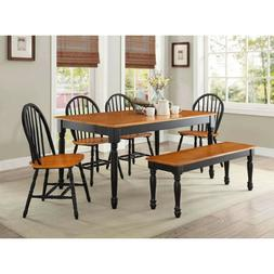 Dining Room Table Set For 6 Farmhouse Solid Wood Kitchen Tab