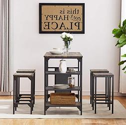 O&K Furniture 5-Piece Dining Room Table Set, Bar Pub Table S