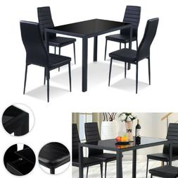 Dining Set 5 Piece Modern Table And Chair Black Kitchen Furn