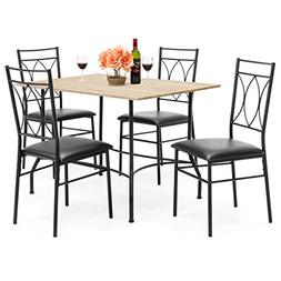 Best Choice Products 5-Piece Dining Set w/Wood Table, Metal