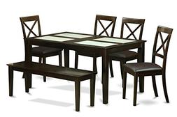 6pc dining set, kitchen table with 4 leather seat chairs & 1