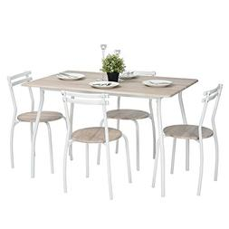 Lillyarn 5Pcs Dining Set Breakfast Table and Chairs Set Meta