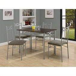 Monarch 5 Piece Dining Set in Cappuccino and Silver