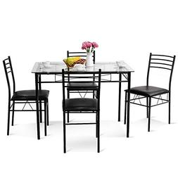 Tangkula Dining Table Set 5 Piece Home Kitchen Dining Room T
