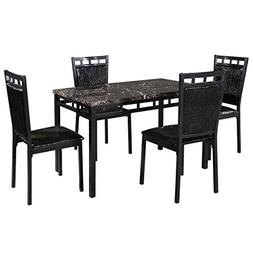 Giantex 5 PC Dining Set Faux Marble Table And PU Chairs Home