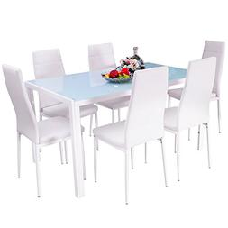Merax. 7-Piece Dining Set Glass Top Metal Table 6 Person Tab