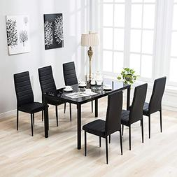 Mecor 7 Piece Kitchen Dining Set, Glass Top Table with 6 Lea