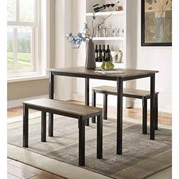 3 Piece Dining Set Includes 1 Dining Table and 2 Benches Mad