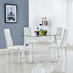 Bonnlo 5 Pieces Dining Set Modern Dining Table Set for 4 Per