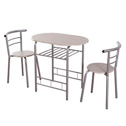 Giantex 3 Piece Dining Set Compact 2 Chairs and Table Set wi