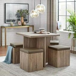 Dining Set Table With 4 Storage Ottomans 5 Piece Dining Set