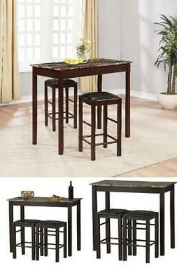 Dining Set Three Piece Table Chair High Top Stools Breakfast
