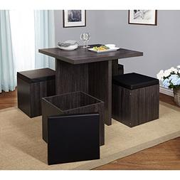 5-piece Dining Set with Storage Ottomans - One Square Table
